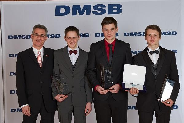von links: Jürgen Hieke (dmsj Vorsitzender), Daniel Spiller, Kevin Munkler, Franz Kadlec