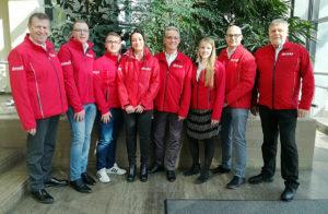 dmsj-Vorstand von links: Gebhard Sanne, Max Kumpf, Florian Pötzl, Maria Schuch, Jürgen Hieke, Kirsten Hasenpusch, René Schäfer, Harald Rabe